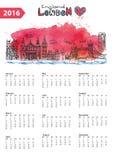 Calendar 2016.London Landmarks skyline,watercolor. Calendar 2016 New year.London Famous landmarks panorama ,skyline.Watercolor splash ,doodle  sketchy.Big Ben Royalty Free Stock Images