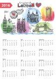 Calendar 2016.London Landmarks skyline,watercolor. Calendar 2016 New year.London Famous landmarks panorama ,skyline.Watercolor splash ,doodle  sketchy.Big Ben Royalty Free Stock Photos