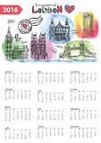Calendar 2016.London Landmarks skyline,watercolor. Calendar 2016 New year.London Famous landmarks panorama ,skyline.Watercolor splash ,doodle  sketchy.Big Ben Royalty Free Stock Image