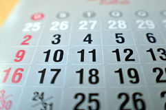 Calendar macro shot, focusing on the numbers 10 and 11 royalty free stock photos