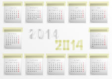 Calendar for 2014. Calendar made by adhesive tape and stickers Stock Image