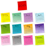 2017 calendar made of colored sheets of paper. With paper clips Royalty Free Stock Photos