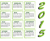 2015 calendar. A calendar 2015 made of green color Royalty Free Stock Photo