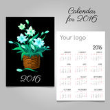 2016 Calendar with magic flowers in a wicker. Calendar 2016 with magic flowers in a wicker basket stock illustration