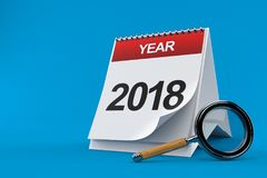 2018 calendar with magnifying glass. On blue background Royalty Free Stock Photos