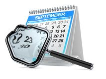 Calendar with magnifying glass in house shape Royalty Free Stock Photos