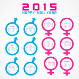 Calendar of 2015 with male and female symbol  design Stock Image
