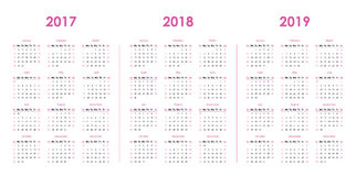 Calendar mallen för 2017, 2018, 2019 royaltyfri illustrationer