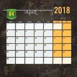Calendar mallen för 2018 den April månaden med abstrakt grungebakgrund Arkivfoton