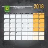Calendar mallen för 2018 den Februari månaden med abstrakt grungebakgrund Royaltyfria Foton