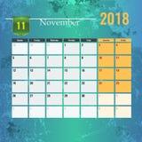 Calendar mallen för 2018 den November månaden med abstrakt grungebakgrund Royaltyfri Foto