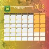 Calendar mallen för 2018 den Oktober månaden med abstrakt grungebakgrund Royaltyfria Foton