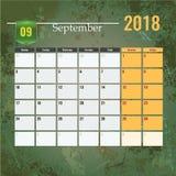 Calendar mallen för 2018 den September månaden med abstrakt grungebakgrund Arkivfoto
