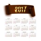 Calendar mallen för ett år 2017 som isoleras på vit Arkivfoto