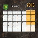 Calendar mallen för 2018 Januari med abstrakt grungebakgrund Arkivbilder