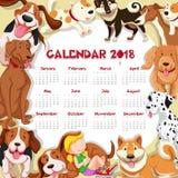 Calendar mallen för 2018 med många gullig hundkapplöpning Arkivfoton