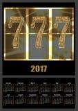 Calendar mallen 2017 med den lyckliga stilsorten för sju enarmad bandit Royaltyfria Bilder