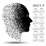 2017 calendar with a man made of musical notes. For print or web use royalty free illustration