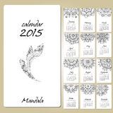 Calendar with mandala round ornament 2015 year. Calendar 2015 year design, English, Sunday start, with mandala round ornament Royalty Free Stock Image