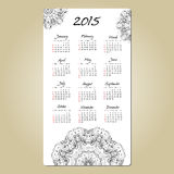 Calendar with mandala round ornament 2015 year. Calendar 2015 year design, English, Sunday start, with mandala round ornament Royalty Free Stock Photos
