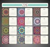 Calendar with mandalas Royalty Free Stock Photos