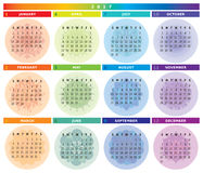 2017 Calendar with Mandalas in Light Rainbow Colors. And in Table Shape Royalty Free Stock Image
