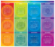 2017 Calendar with Mandalas in Rainbow Colors. And in Table Shape Royalty Free Stock Images