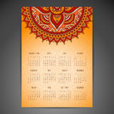 Calendar with mandalas Royalty Free Stock Photography
