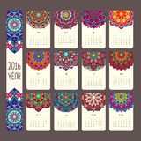 Calendar 2016 with mandalas. Vintage style, vector decorative illustration. Calendar in indian and arabic style Stock Image