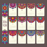 Calendar 2016 with mandalas. Vintage style, vector decorative illustration. Calendar in indian and arabic style Royalty Free Stock Photos