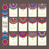 Calendar 2016 with mandalas. Vintage style, vector decorative illustration. Calendar in indian and arabic style Royalty Free Stock Photo
