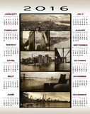 2016 Calendar Manhattan views. 2016 calendar with Several views of Manhattan in sepia color and low grunge background to give them a nostalgic aspect Stock Image