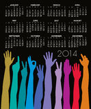 2014 calendar with many hands. 2014 monthly calendar with many colorful hands and forearms on a black background Royalty Free Illustration