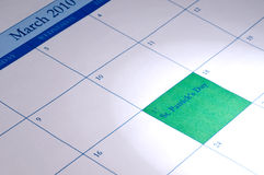 Calendar with March 17 highlighted Stock Images