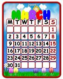 Calendar march 2009. Funny calendar march 2009 with symbols vector illustration