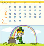 Calendar - march 2009. Page of march calendar 2009, with a little Saint Patrick scene where we can see a girl with a bouquet of clovers near a cauldron and a stock illustration
