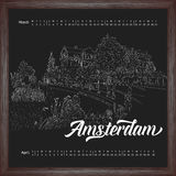 Calendar 2017 march, april with city sketching Amsterdam, Netherlands on chalkboard background. Vector illustration for your design royalty free illustration