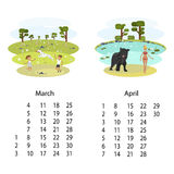 Calendar 2018 March April Stock Images