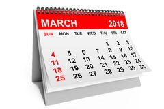 Calendar March 2018. 3d rendering stock illustration