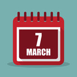 Calendar with 7 march in a flat design. Vector illustration royalty free illustration