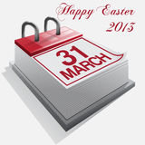 Calendar. Happy Easter.Vector. Stock Image