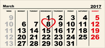 Calendar March 8. Heart shape reminder International Womens Day Stock Images