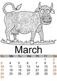 Calendar March month 2019. Antistress coloring cow, bull. Farm animal. Vector. Illustration vector illustration