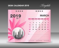 Calendar 2019, MARCH Month, Desk Calendar Template vector design, pink flower concept. Creative idea, advertisement, business flyer, polygonal background stock illustration