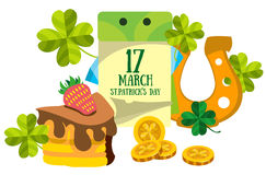 Calendar 17 March. St.Patrick 's Day. Golden Horseshoe, cake. Royalty Free Stock Photography