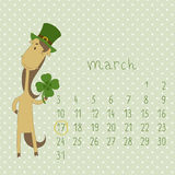 Calendar for march 2014. Calendar with the symbol of the eastern horoscope. Year of the Horse royalty free illustration