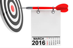 Calendar March 2016 with target. Calendar March 2016 on blank note paper with free space for your text with target Royalty Free Stock Photo