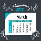 Calendar march 2017 template icon. Vector illustration design Stock Photo