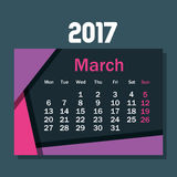 Calendar march 2017 template icon Royalty Free Stock Images