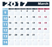Calendar 2017 March vector design template. Week starts with Monday. European version Stock Photo